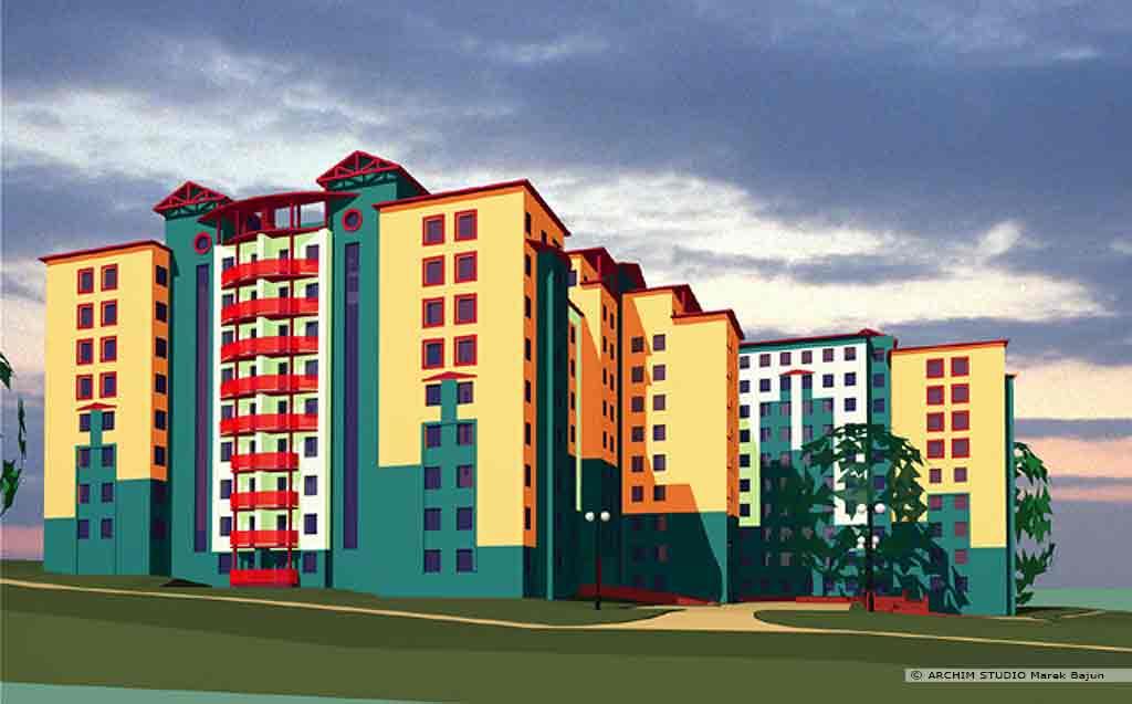 Budynek mieszkalny- akademik- wizualizacja