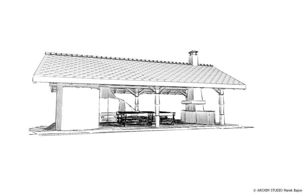 Grill i wędzarnia murowana- widok frontu