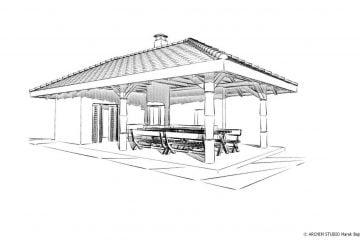 Ogrodowy grill zadaszony z pomieszczeniem gospodarczym- widok- wersja 3