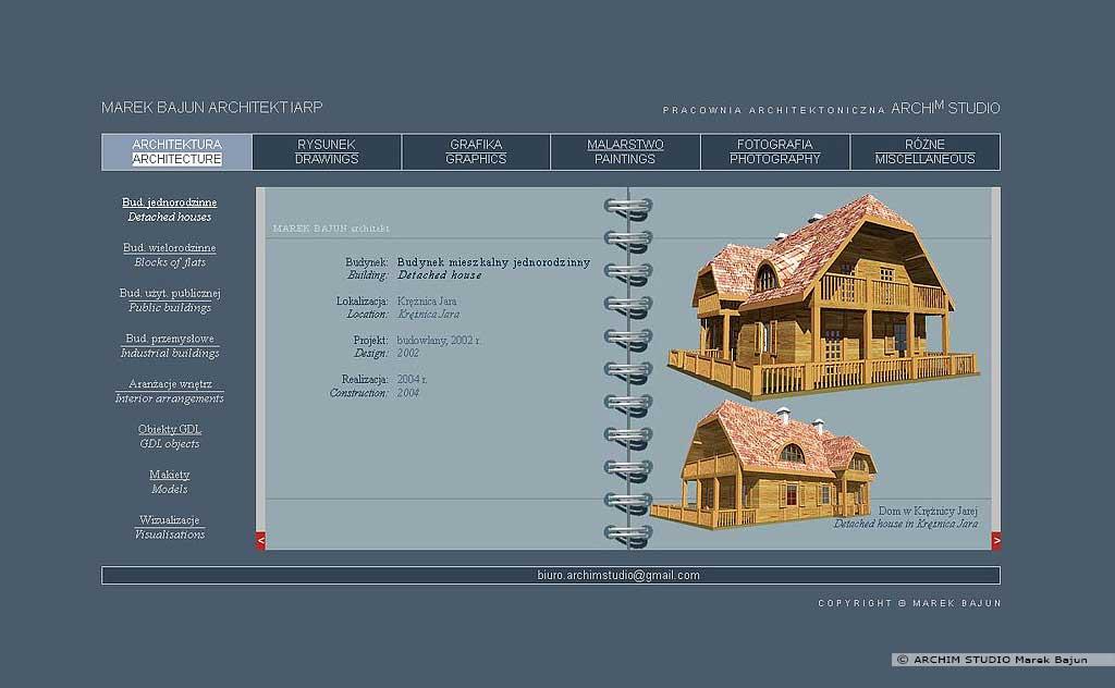 Archiwalna strona internetowa ARCHIM STUDIO dział architektura