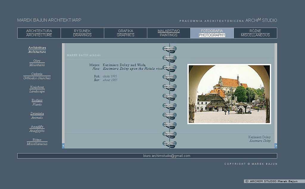 Archiwalna strona internetowa ARCHIM STUDIO dział fotografia