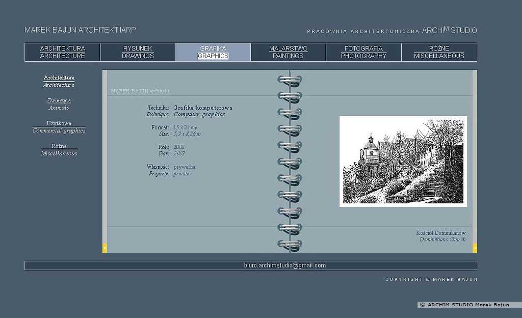 Archiwalna strona internetowa ARCHIM STUDIO dział grafika