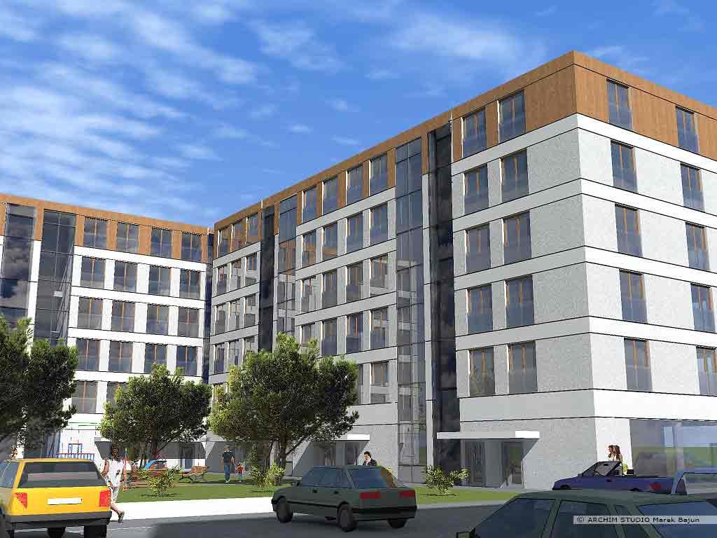 4 budynki mieszkalne z usługami- widok