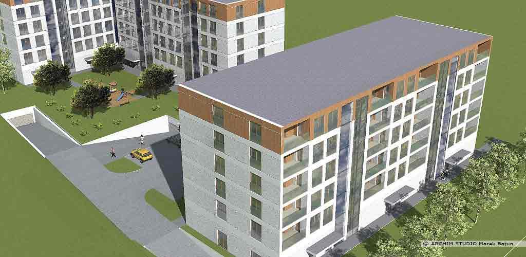 4 budynki mieszkalne z usługami- widok z lotu ptaka