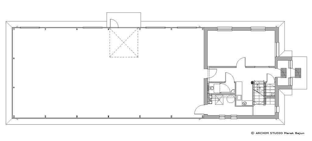 Projekt budynku magazynowego- rzut parteru