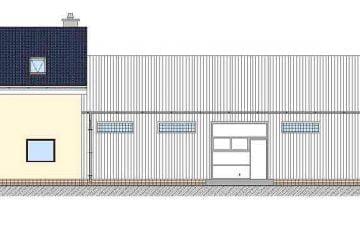 Projekt budynku magazynowego- elewacja wschodnia
