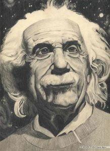 Albert Einstein portret narysowany ołówkiem