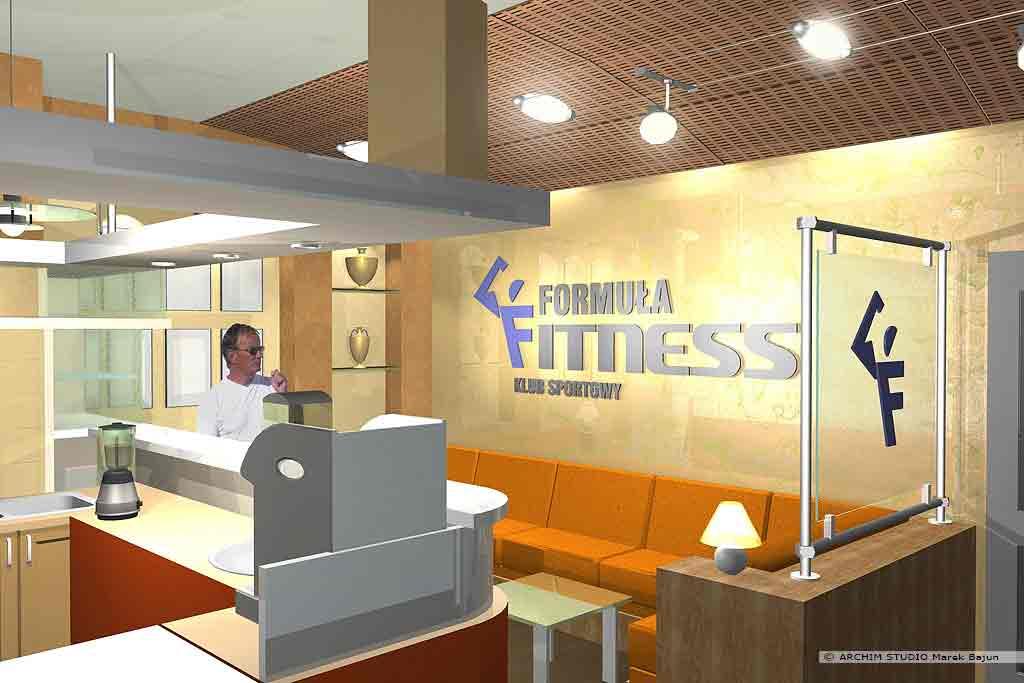 Aranżacja wnętrza klubu fitness- recepcja