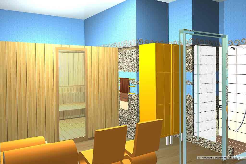 Aranżacja wnętrza klubu fitness- sauna z natryskiem