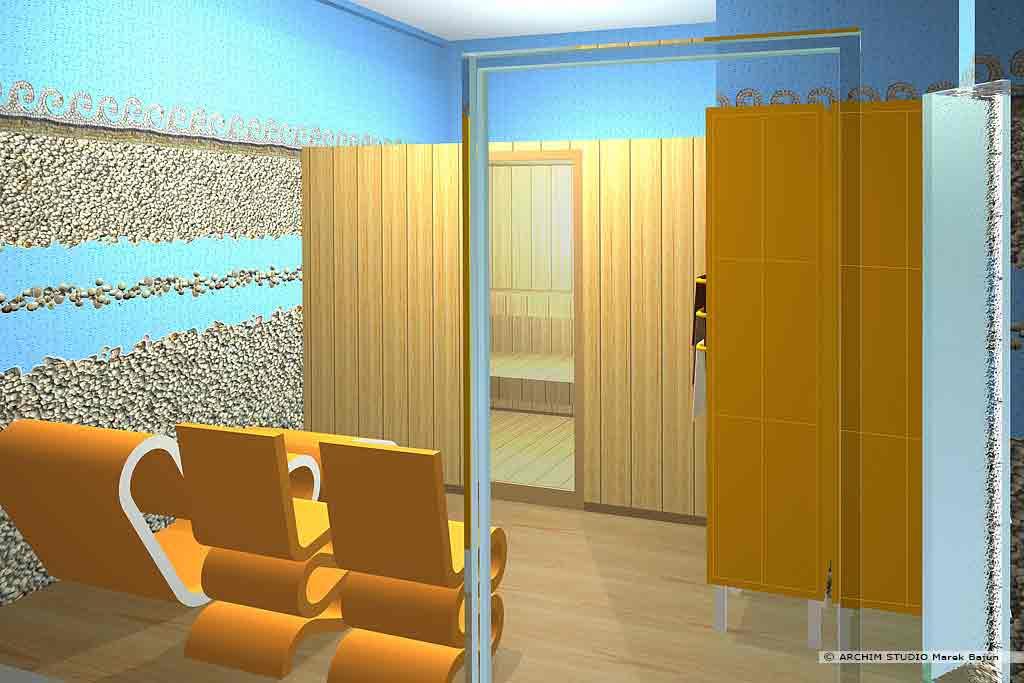 Aranżacja wnętrza klubu fitness- sauna