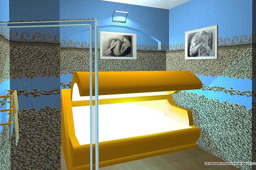 Aranżacja wnętrza klubu fitness- solarium