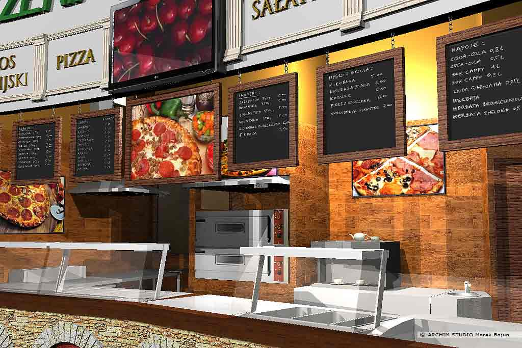 Aranżacja wnętrza pizzerii- widok