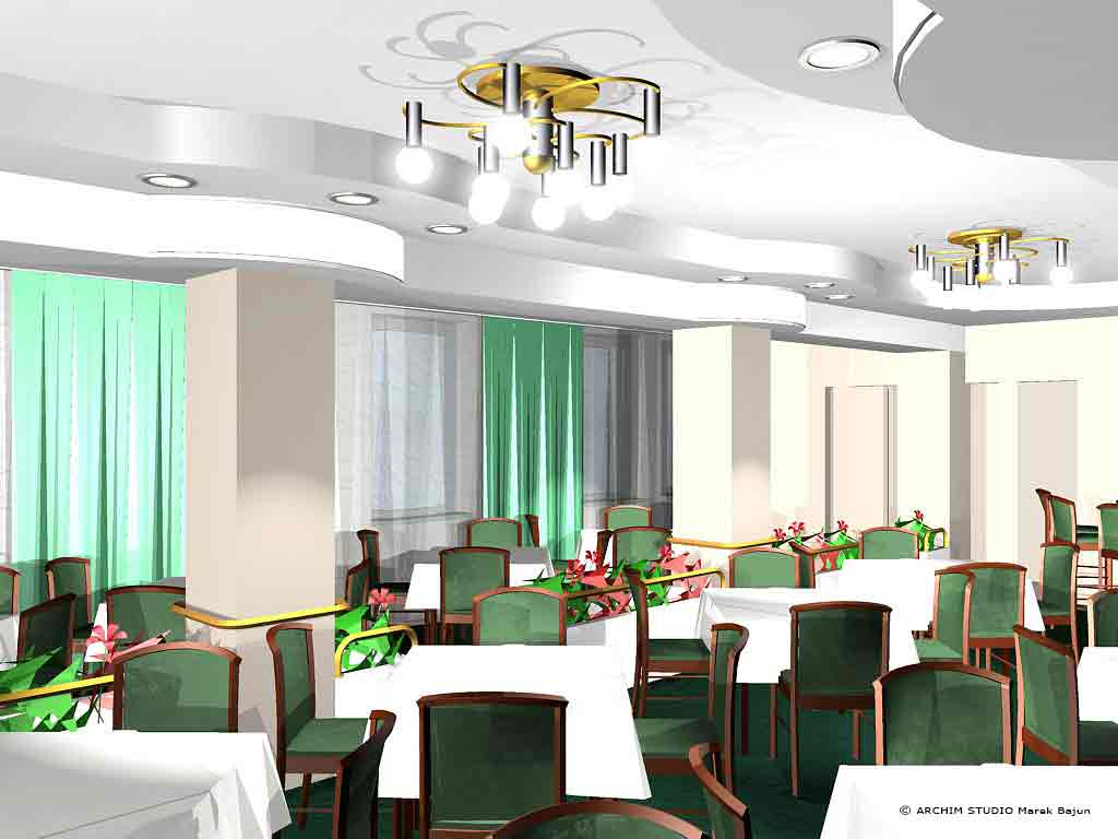 Aranżacja wnętrza restauracji hotelu- widok