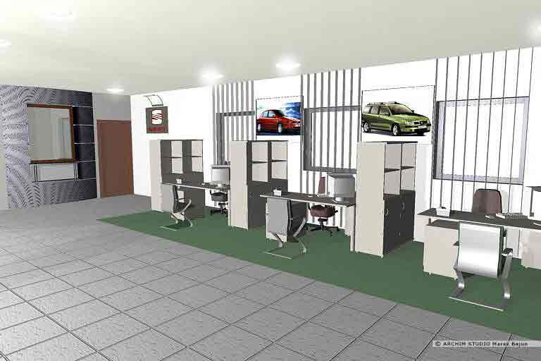 Aranżacja wnętrza salonu samochodowego
