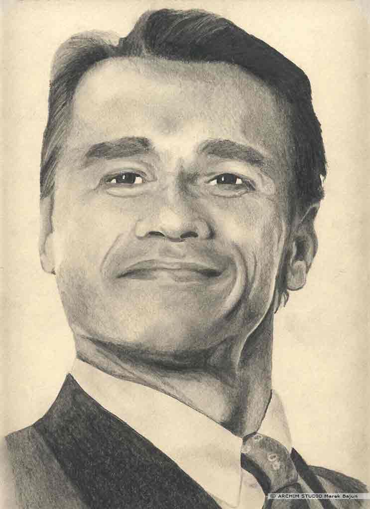 Arnold Schwarzenegger portret narysowany ołówkiem