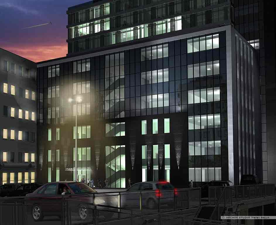 Biurowiec Gray Office- widok nocny elewacji tylnej