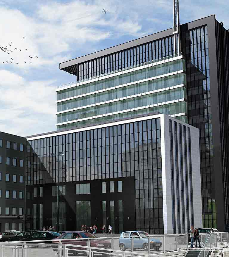 Biurowiec Gray Office- widok tylnej elewacji