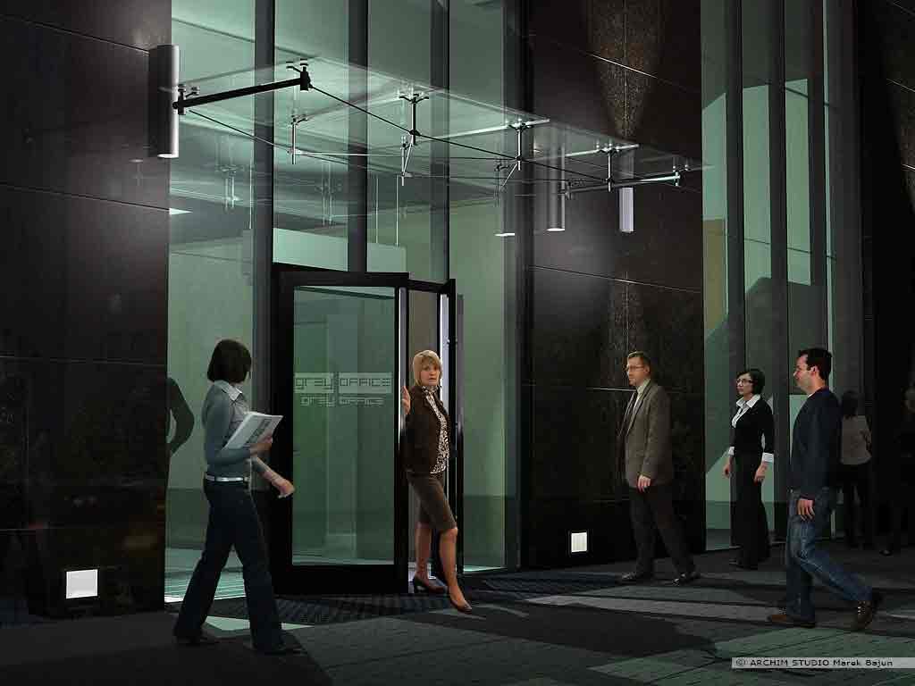 Biurowiec Gray Office- widok nocny tylnego wejścia