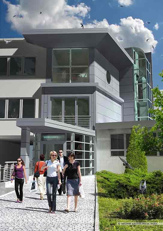Budynek biurowy Liftservice- widok frontu
