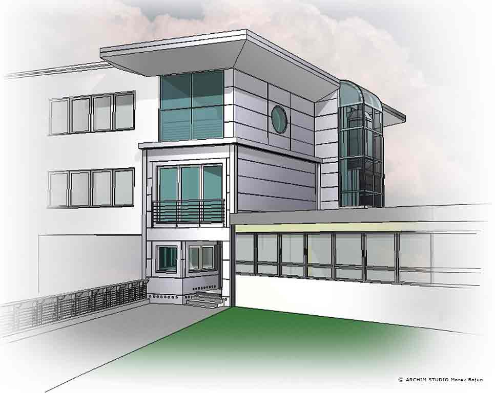 Budynek biurowy Liftservice- wizualizacja