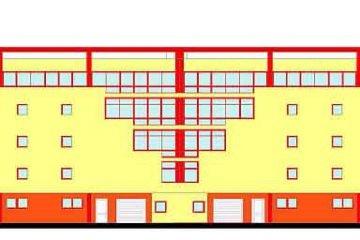 Budynek garażowy wielokondygnacyjny- elewacja frontowa