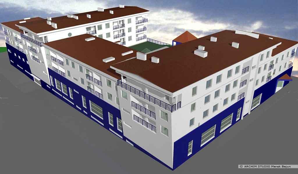 Budynek mieszkalno handlowy- widok z lotu ptaka