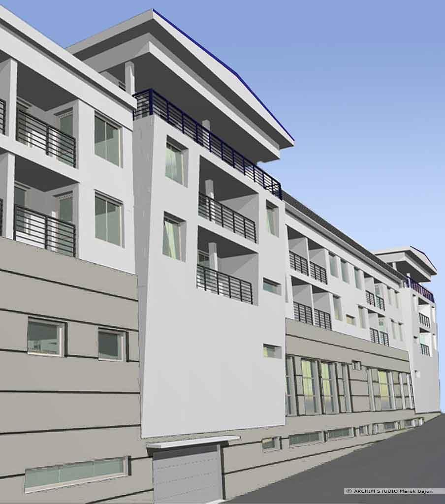 Budynek mieszkalno handlowy- widok frontu wersji szarej