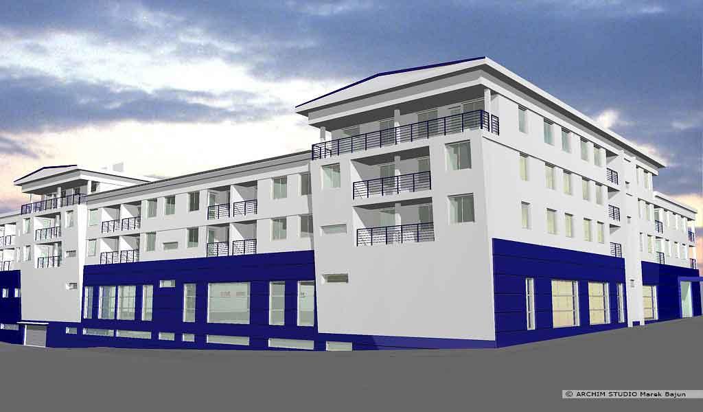 Budynek mieszkalno handlowy- widok