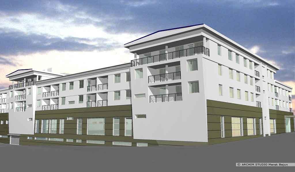 Budynek mieszkalno handlowy- widok frontu wersji oliwkowej