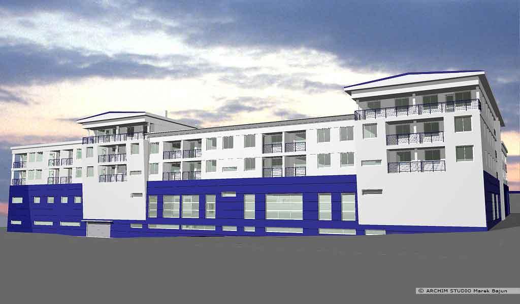 Budynek mieszkalno handlowy- widok frontu