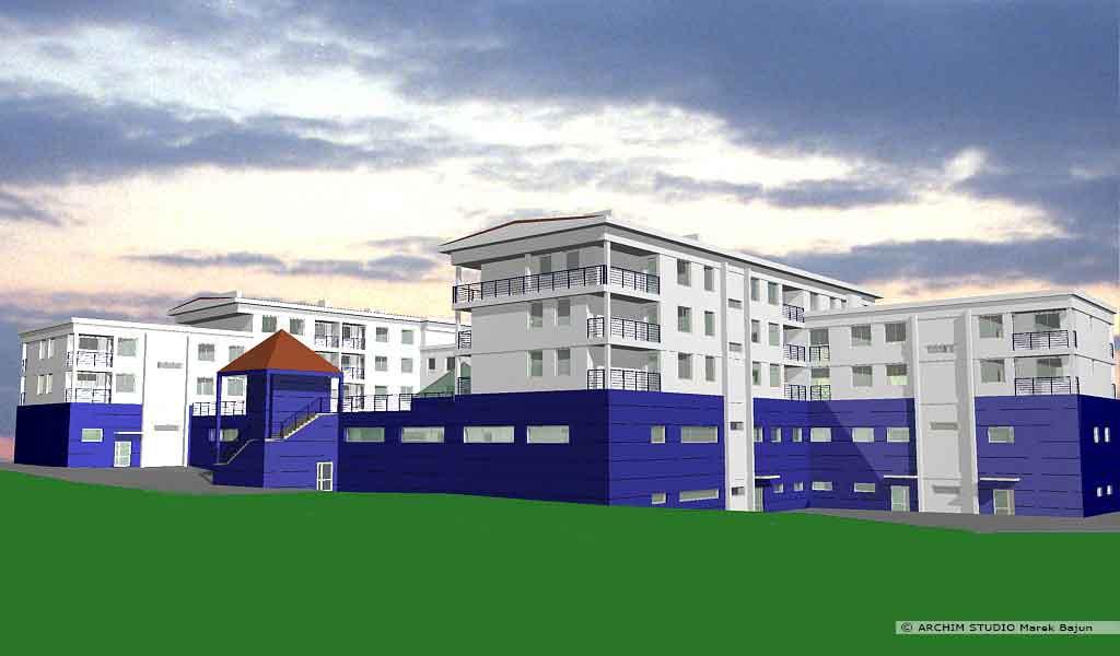 Budynek mieszkalno handlowy- widok tyłu