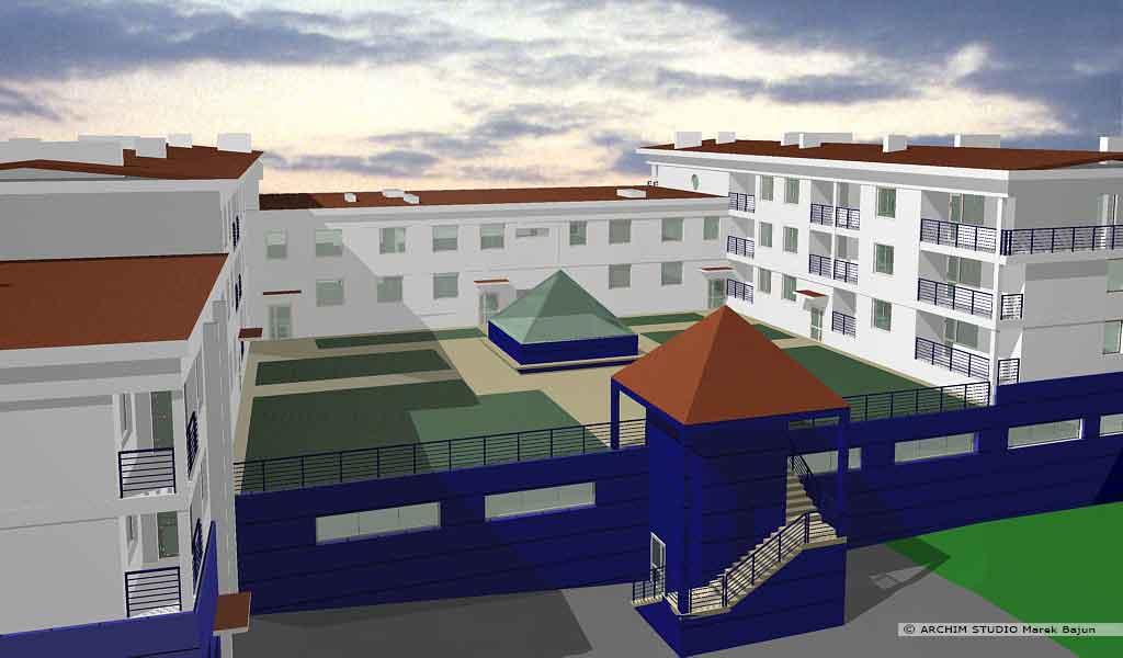Budynek mieszkalno handlowy- widok wewnętrznego dziedzińca