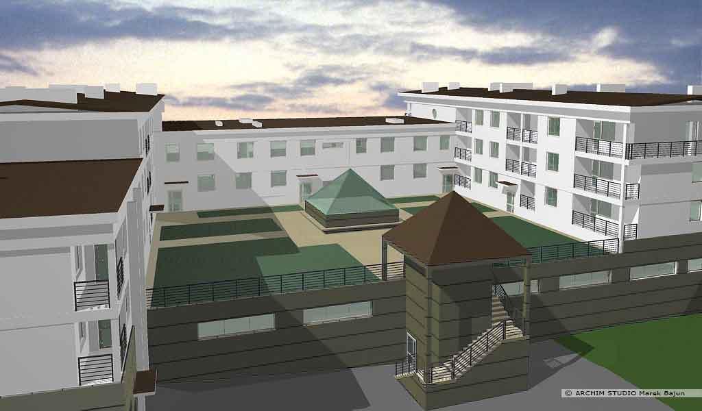 Budynek mieszkalno handlowy- widok tyłu wersji oliwkowej