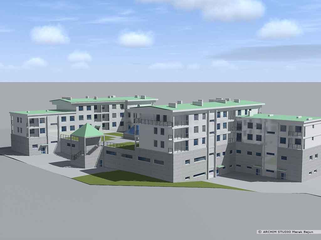Budynek mieszkalno handlowy- widok od tyłu