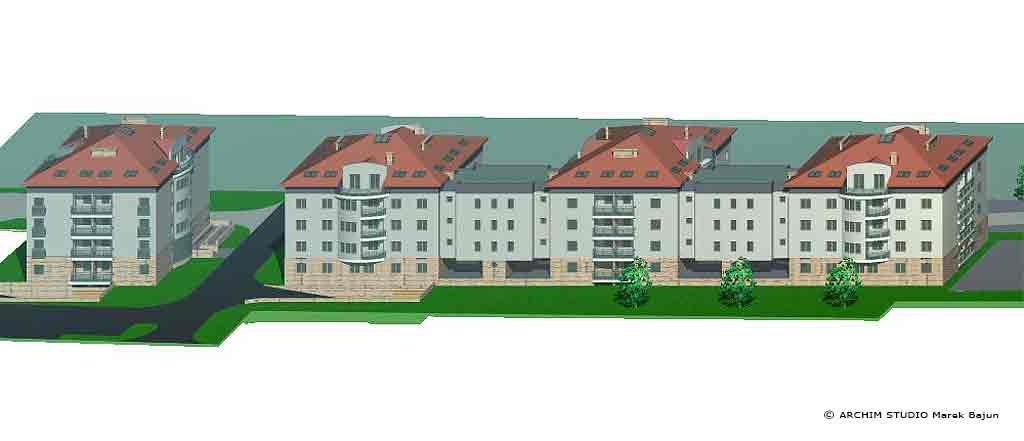 Zespół zabudowy mieszkaniowej- widok z lotu ptaka