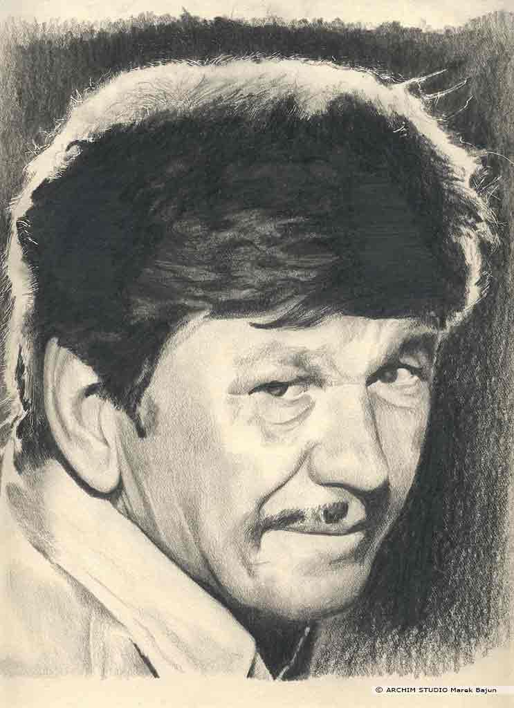Charles Bronson portret narysowany ołówkiem