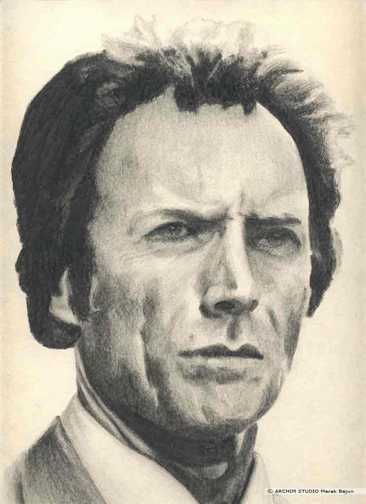 Clint Eastwood portret narysowany ołówkiem