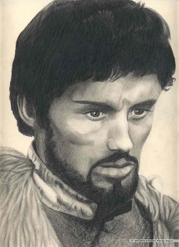 Daniel Olbrychski portret narysowany ołówkiem