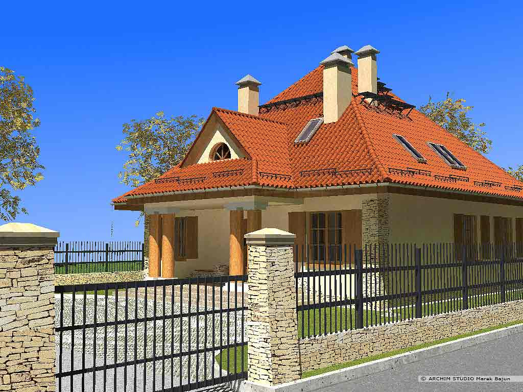 Dom z gankiem- widok od strony dojazdu