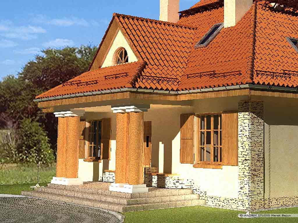 Dom z gankiem- widok frontu