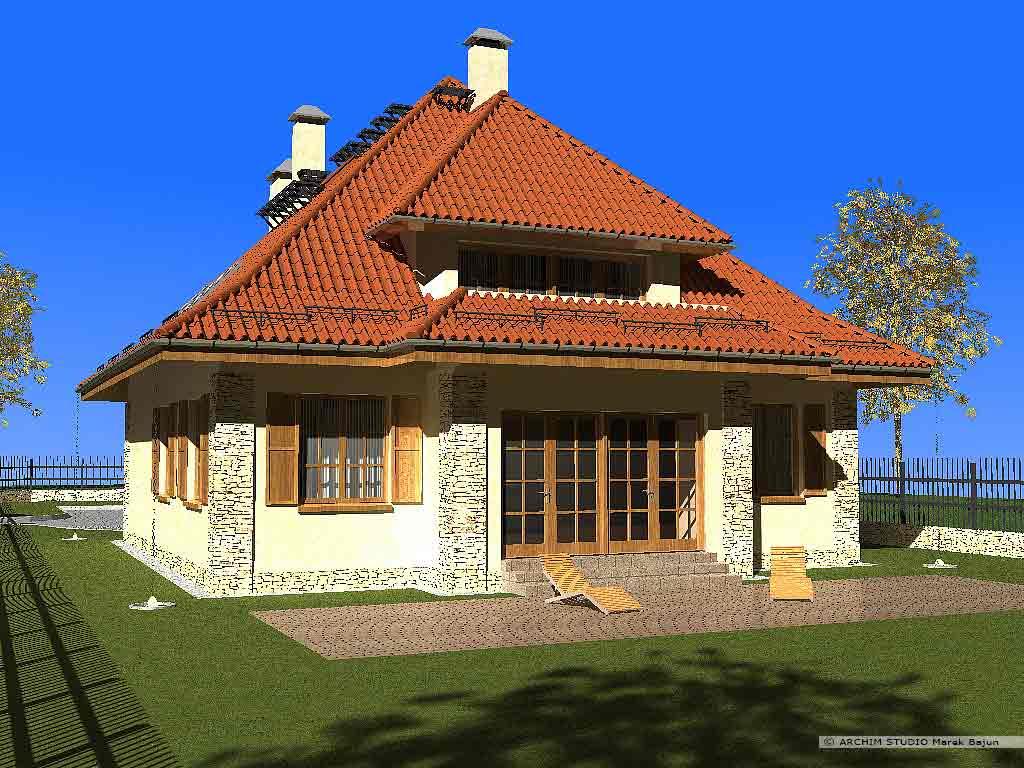 Dom z gankiem- widok od strony tarasu