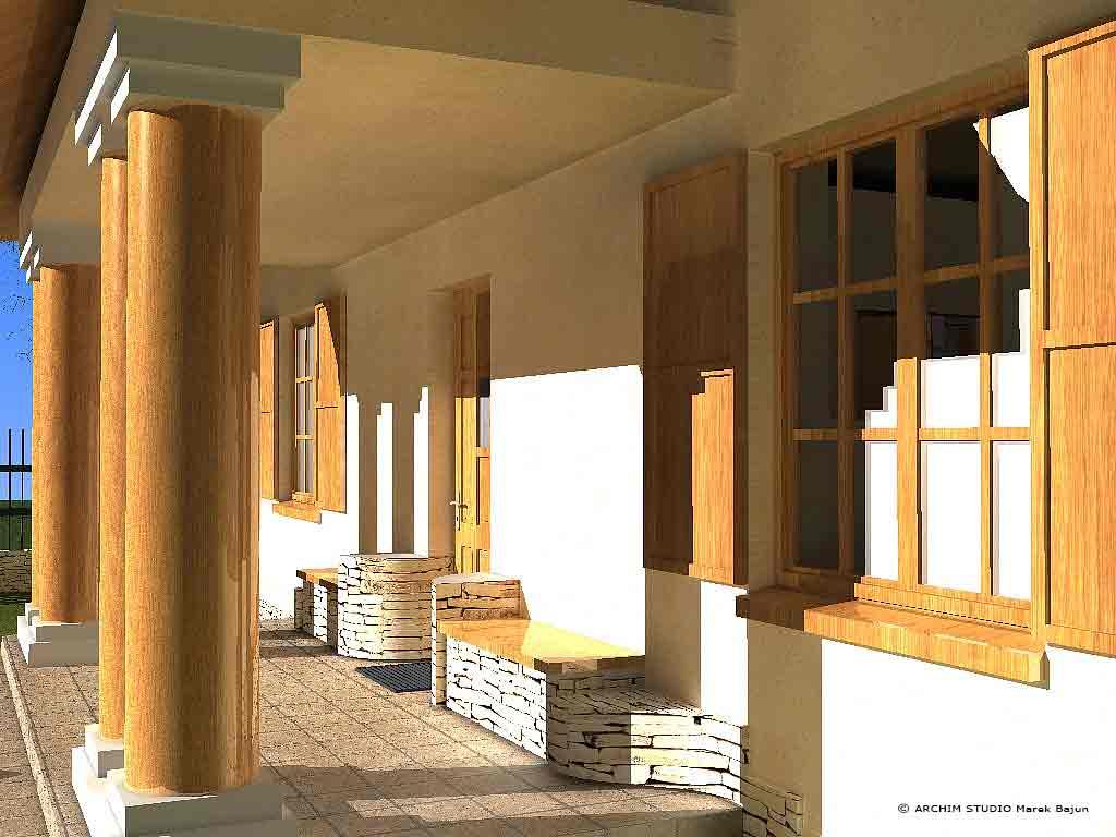 Dom z gankiem- widok siedzisk przy wejściu