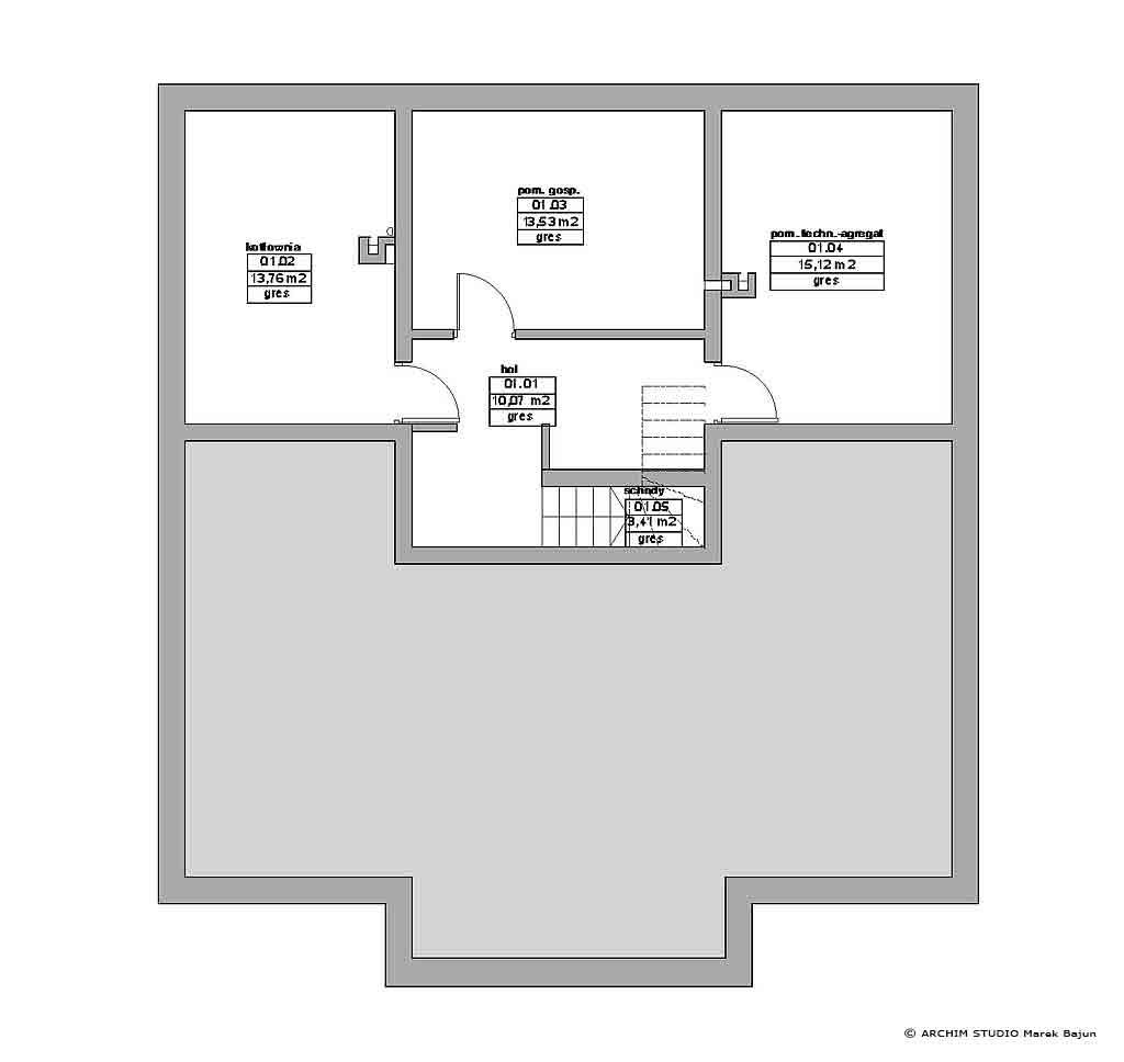 Dom z gankiem- rzut piwnicy