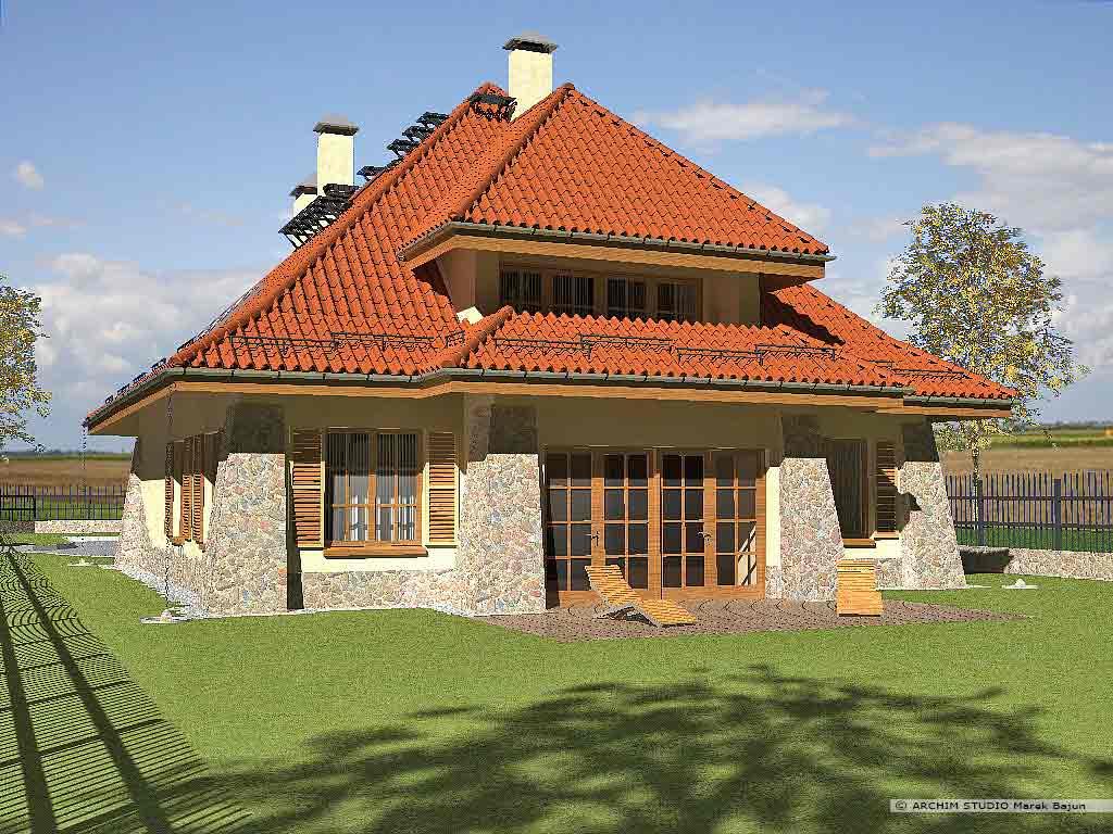 Dom dworek- widok od strony tarasu