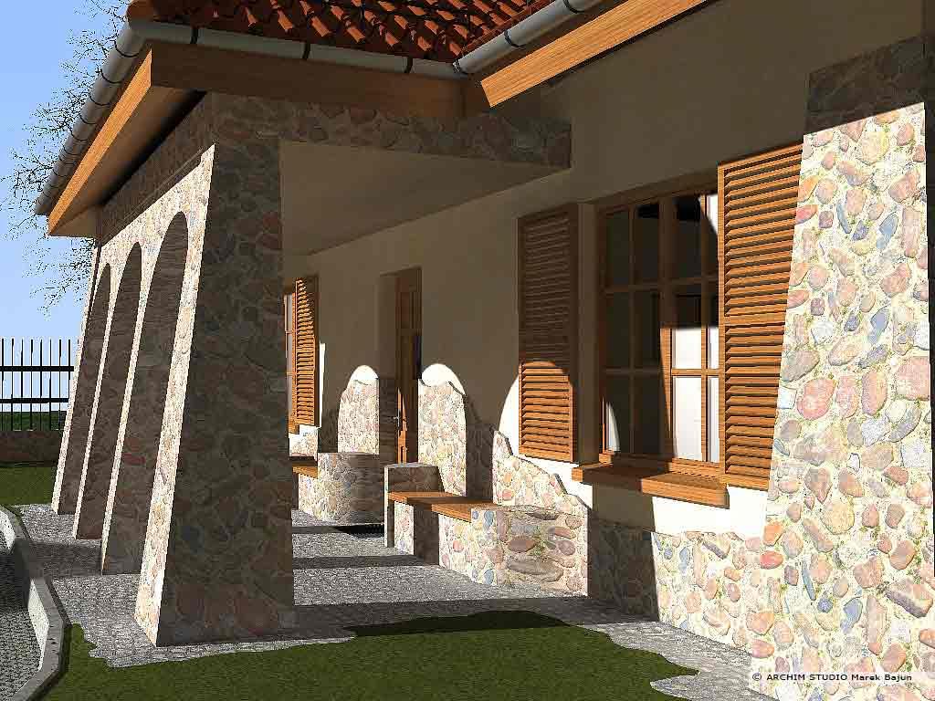 Dom dworek- widok siedzisk przy wejściu