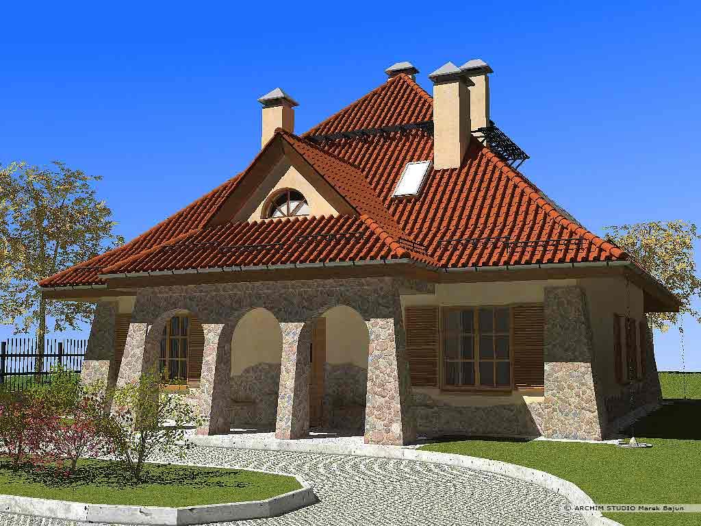 Dom dworek- widok od frontu