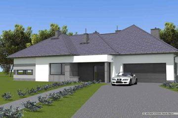 Dom jednorodzinny parterowy- widok frontu