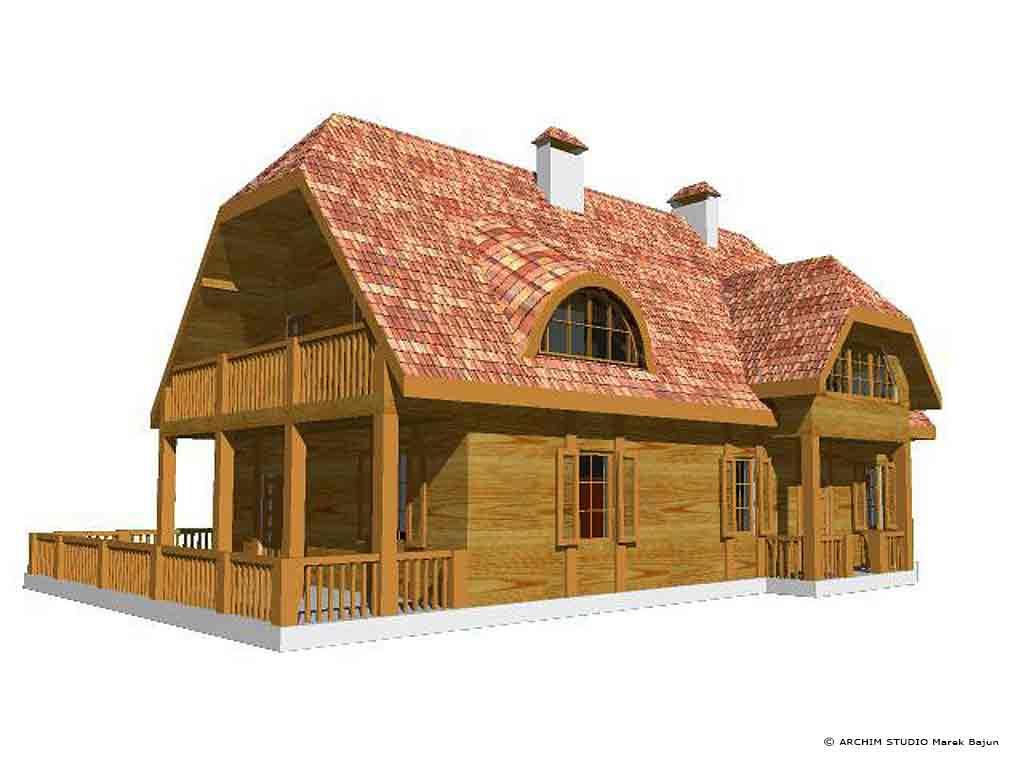 Dom z bali- widok frontu od strony tarasu