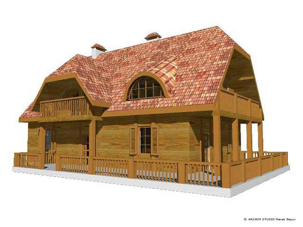 Dom z bali- widok od strony tarasu