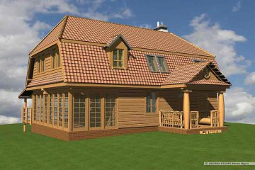 Dom z drewna- widok frontu